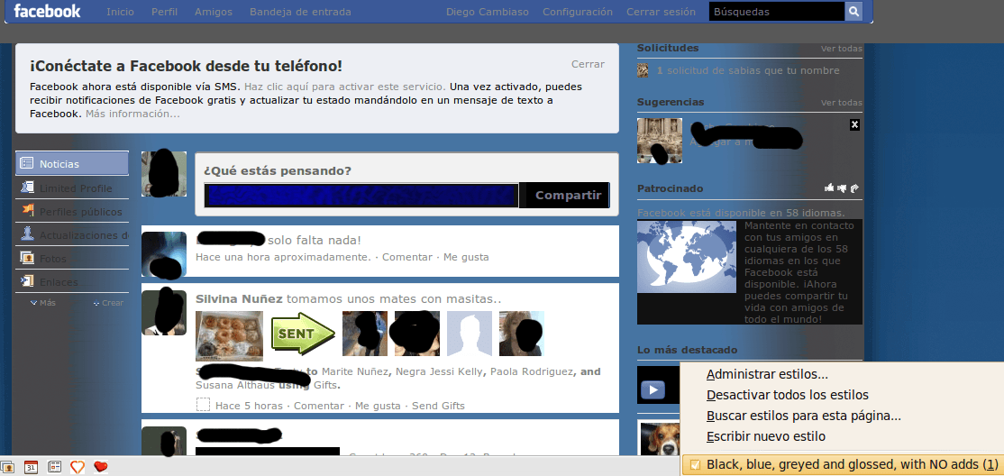 Stylish para firefox facebook