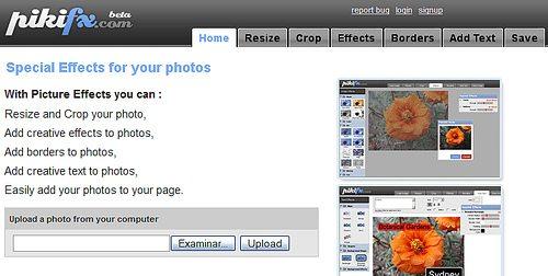 Pikifx - Editor de fotos - Interfaz