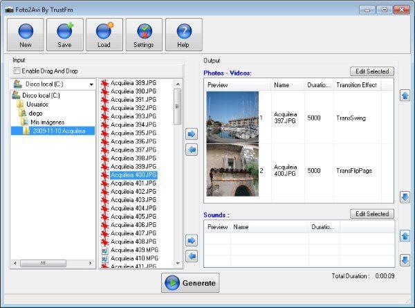 Foto2AVI Foto2AVI Programa gratis para crear videos con imágenes y fotos- Interfaz - Interfaz