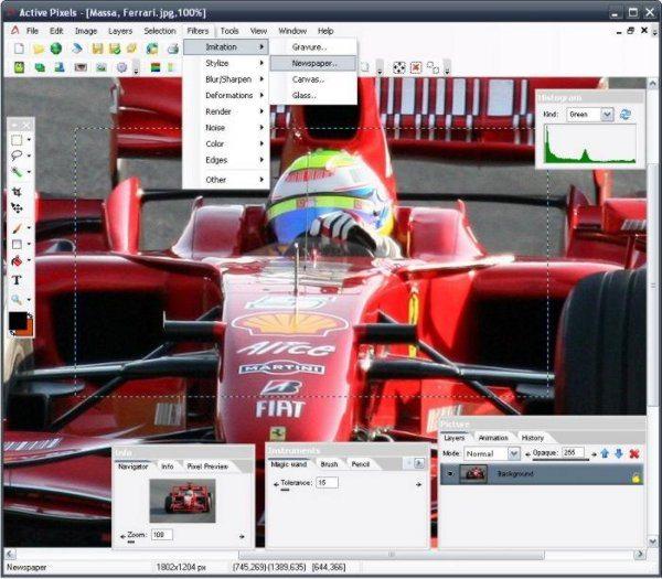 Active Pixels - Interfaz