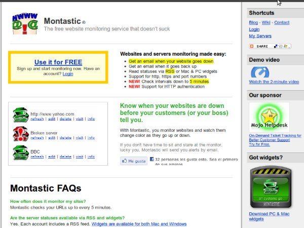 Montastic - Servicio para monitorización de servidores web