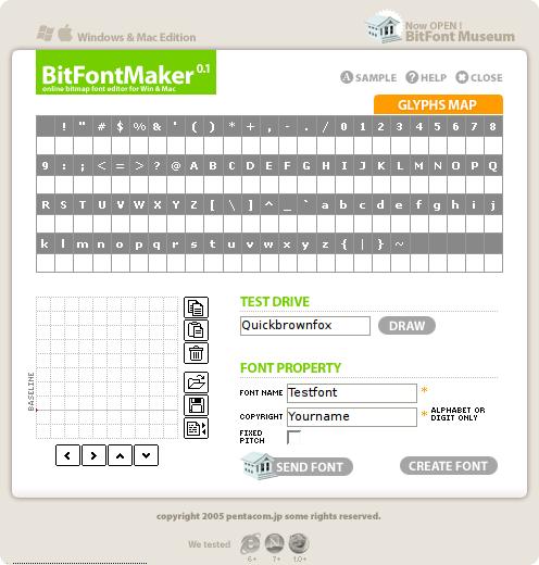 Editor de fuentes online BitFontMAker