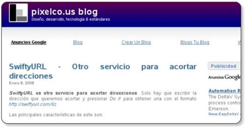 Captura de pixelco.us blog con Kwout