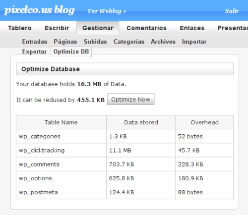 Interfase de Optimize DB
