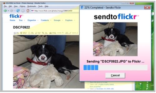 Sendto Flickr captura que muestra a esta herramienta en acción