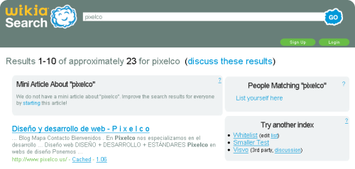 Resultados de buscar en Wikia información sobre pixelco