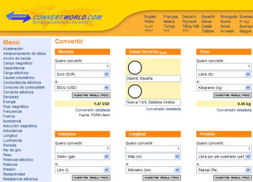 convertworld CONVERTWORLD.COM - Herramienta online que permite convertir todo tipo de medidas