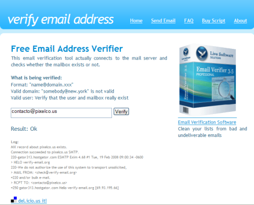 Captura de pantalla de Verify Email Address