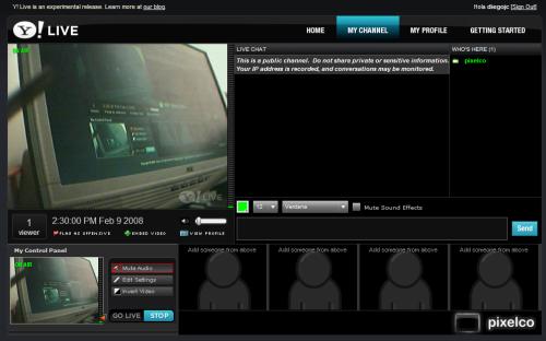Captura de la trasmisión de prueba de pixelco