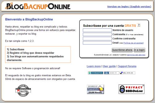 Página de BLogBackupOnline
