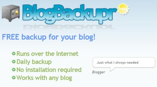 Pantalla de BlogBackupr