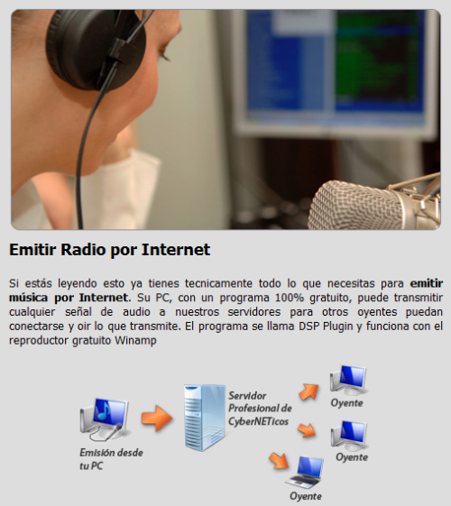 CyberNETicos servicio para emitir radio por Internet