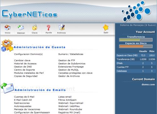 CyberNETicos panel de administración