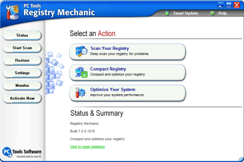 Interfase de Registry Mechanic