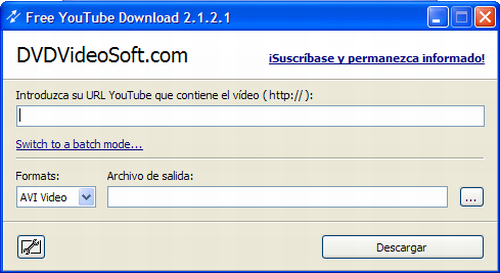Interfase de Free YouTube Download