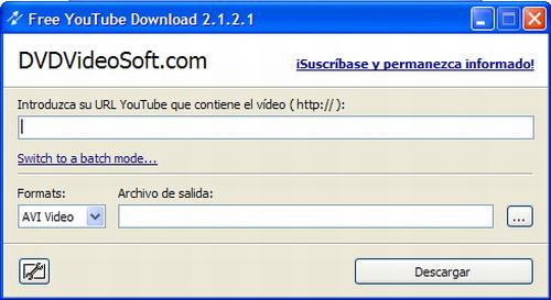 Interfase de Free YouTube Download