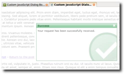 Ejemplo de cuadro de diálogo implementado con la biblioteca Javascript Dialog Box
