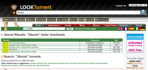 LookTorrent - metabuscador de archivos torrents