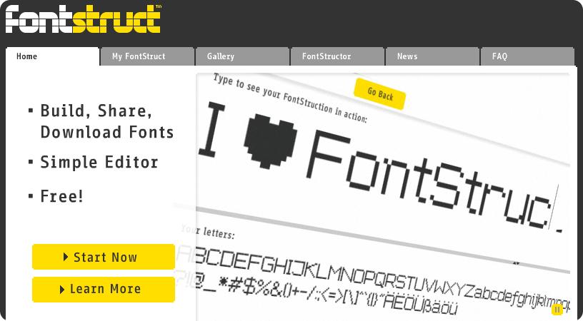Captura de panatalla de FontStruct herramienta online para diseñar, compartir y descargar fuentes tipográficas (fonts)