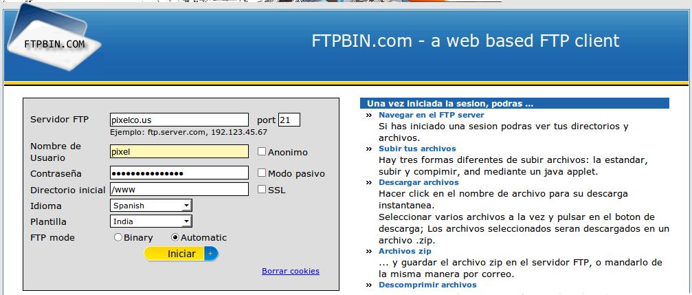 FTPBIN cliente de FTP web