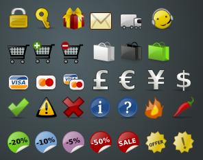 Colección de 32 íconos gratis para proyectos de ecommerce