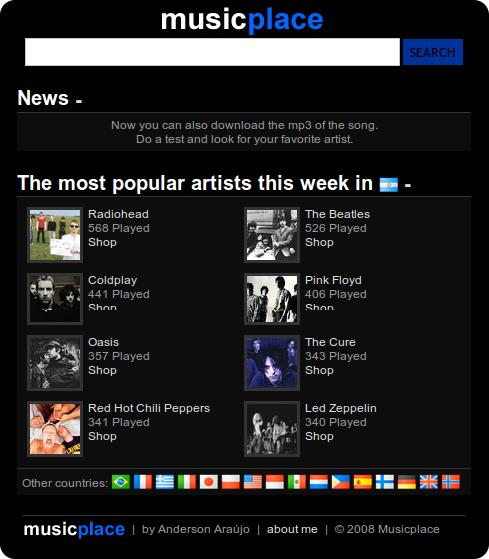 Music Place pantalla principal - un buscador de música
