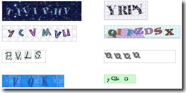 Securimage captcha gallery - Ejemplos de captchas creados con este script