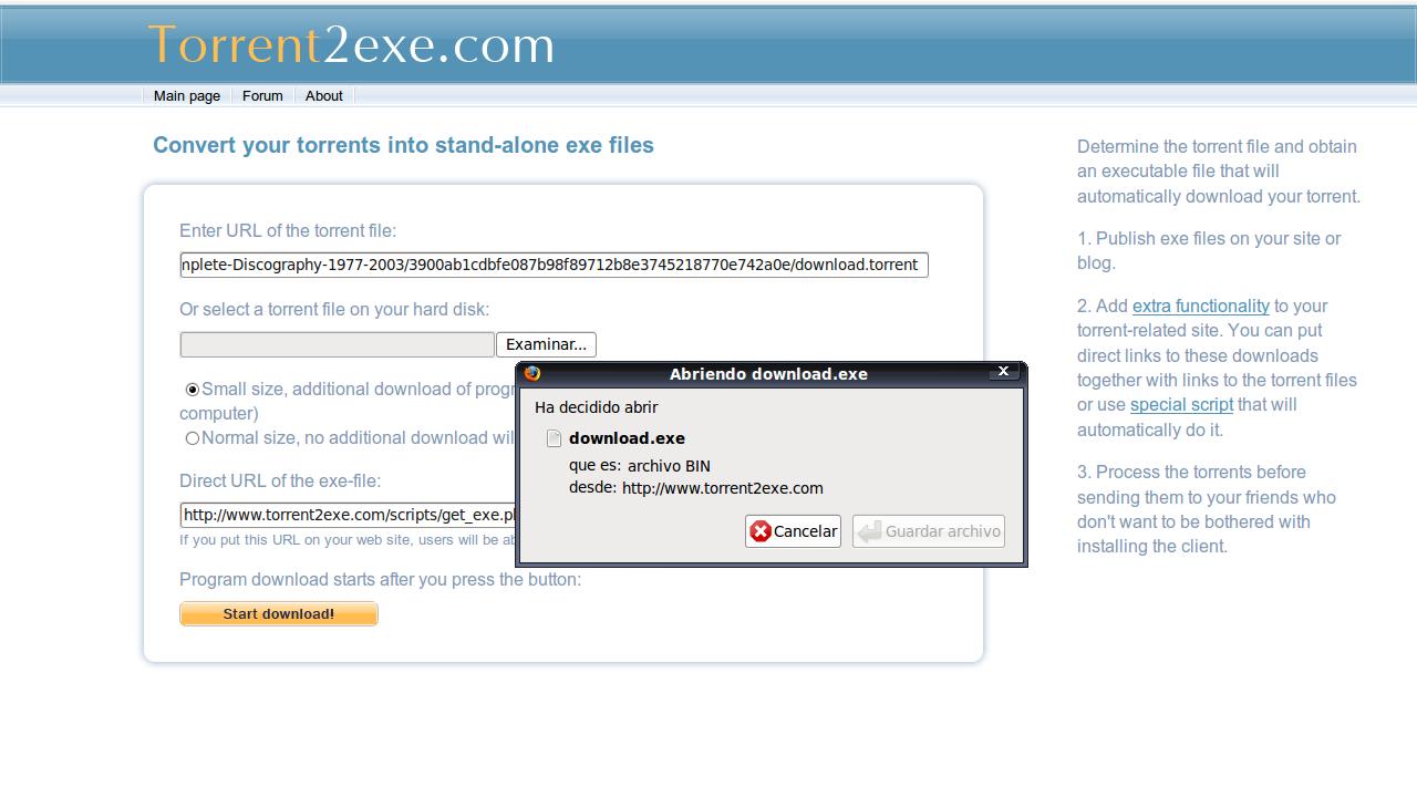 torrent2exe Sevircio para convertir archivos torrents en ejecutables (exe)