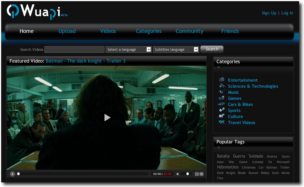 Captura de pantalla del sitio de videos en alta definición Wuapi