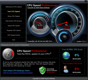 CPU Speed Professional - interfase|captura de pantalla