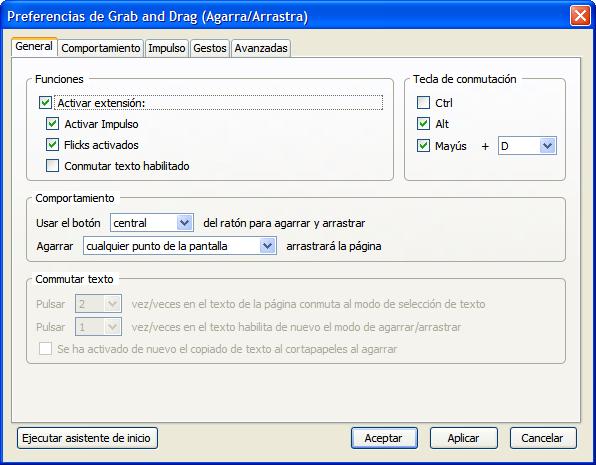Grab and Drag - Diálogo de configuración | Captura de pantalla