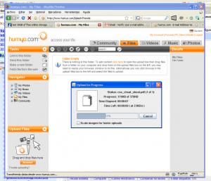 humyo - servicio de alojamiento -Interfase | Captura de pantalla