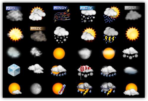 Icons Weather -ejmplos de los ícnos delas dos colecciones