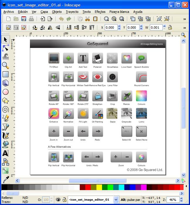 Inkskape Go Squared -Colección de íconos en formato vectorial