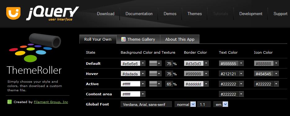 jQuery UI - Captura de pantalla