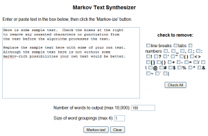 Markov Text Synthesizer - Editor textos|Interfase|Captrua de pantalla
