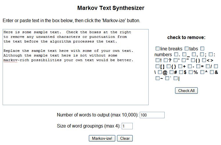 Markov Text Synthesizer - Editor textos|Interfase|Captrua de pantalla