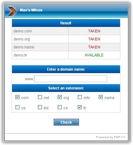 Max's Whois script - Demo | Captura de pantalla