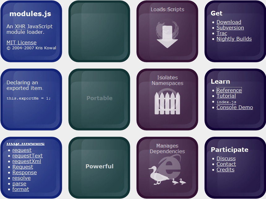 modulesjs - Captura de pantalla website