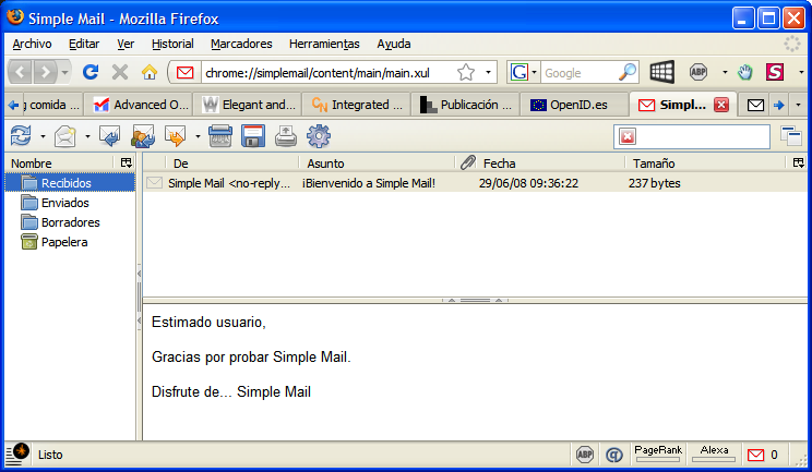Simple Mail - Interfase | Captura de pantalla