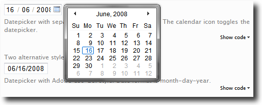 Vista Like Ajax Calendar - Demo|Captura de pantalla
