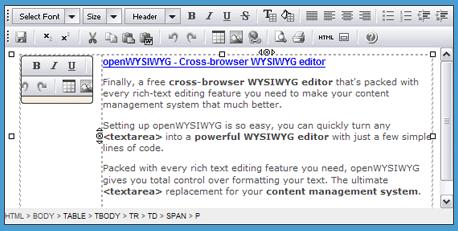 OpenWYSIWYG - Ejemplo | Captura de pantalla