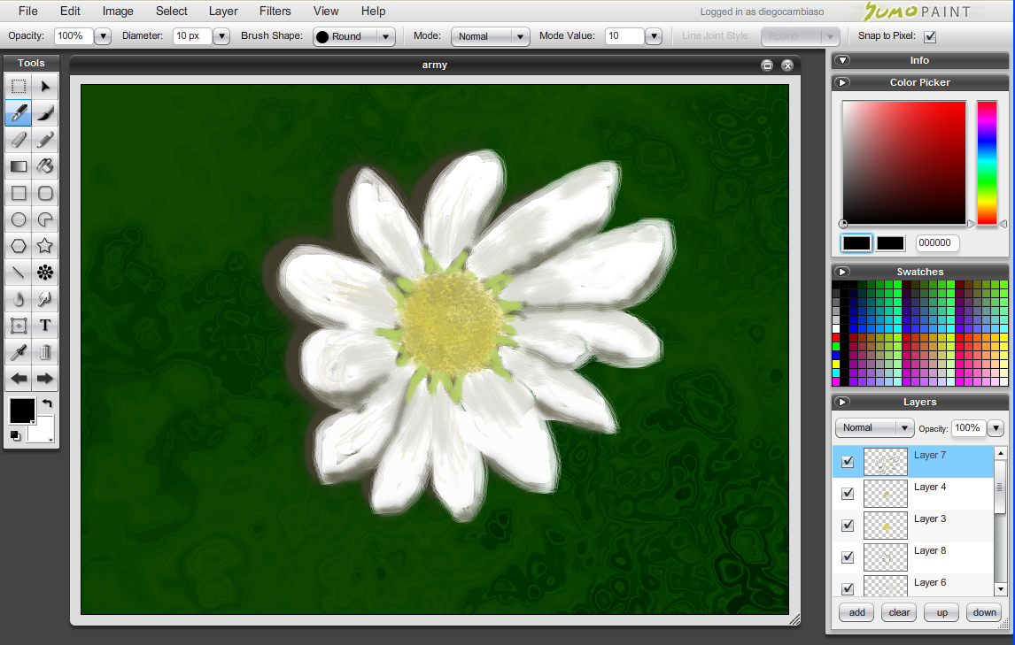 Sumopaint.com editor - Interfase   Captura de pantalla