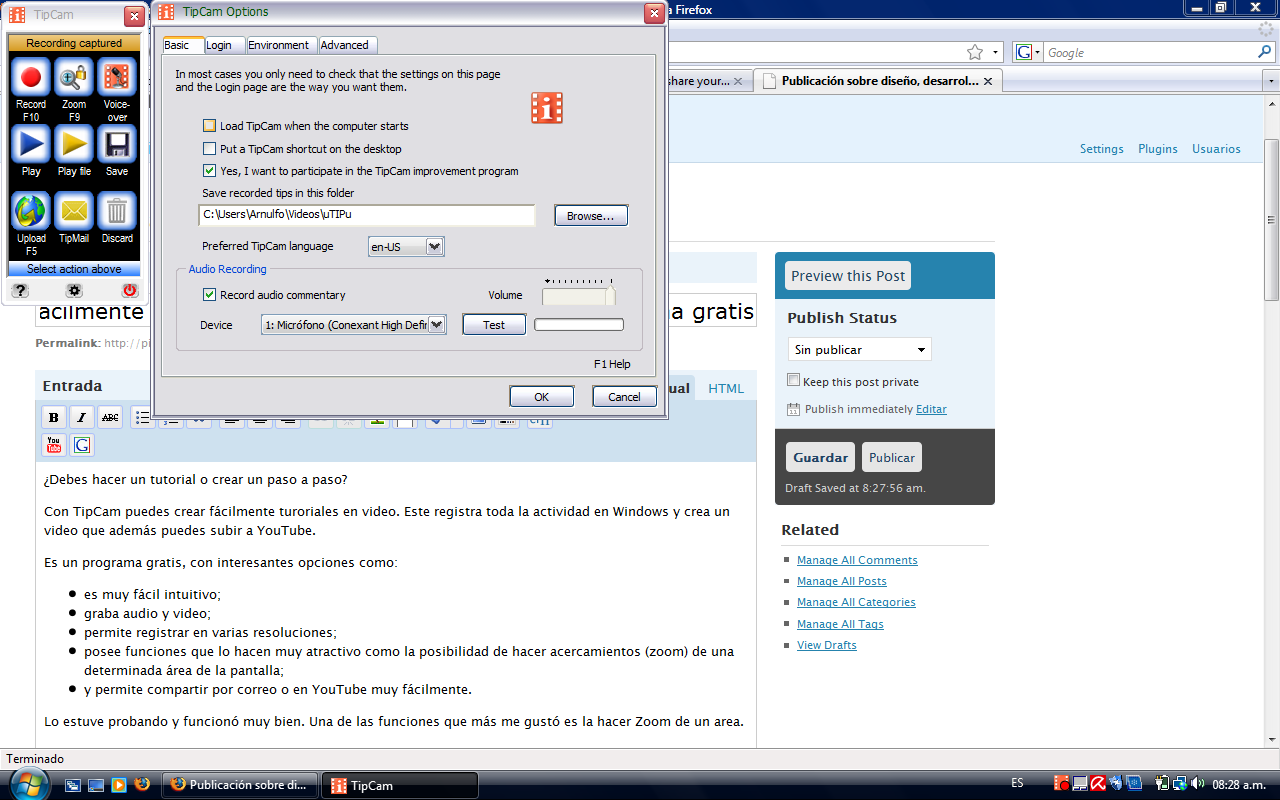 TipCam - Interfase - Captura de pantalla