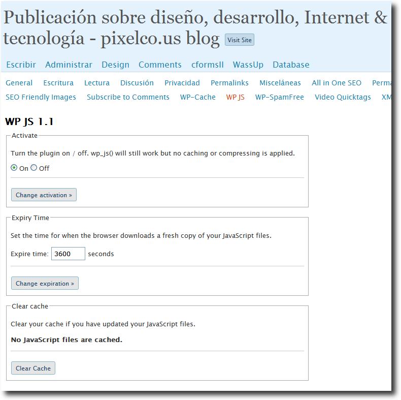 WP JS - Panel de control   Captura de pantalla