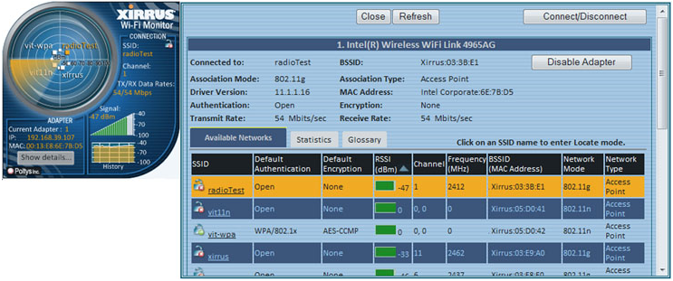 Xirrus Wi-Fi Motinor - Interfase | captura de pantalla