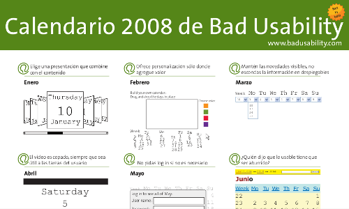 Bad Usability Calendar - Muestra