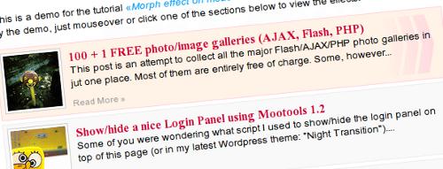 Morph Effects Mootools