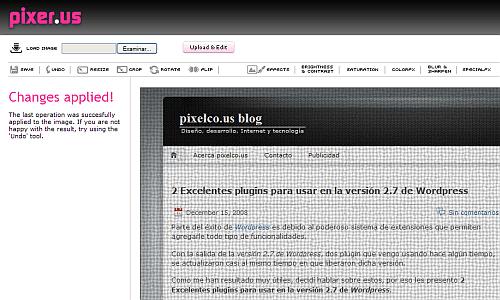 Pixer.us - Editor online de fotos - Captura de pantalla