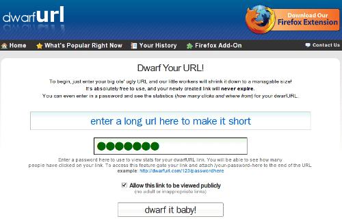 dwarfURL - Captura de pantalla